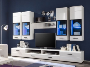Wohnwand Attac 4 hochglanz-weiss inklusive blaue LED-Beleuchtung