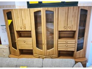Italienische Stilmöbel Anbauwand Selva glänzend-cremeweiss mit integriertem TV-Teil und Vitrine (gebraucht)
