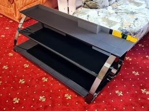 Glas-TV-Teil mit drei Ablagen silber /schwarzglas (gebraucht)