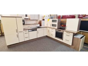 Eckküche Pino mit Geräten lila/betonoptik/akazie (gebraucht)
