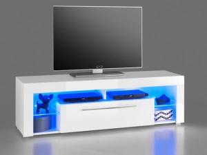 TV-Lowboard Goal 1 hochglanz-weiss inklusive blaue LED-Beleuchtung