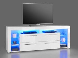TV-Lowboard Goal 3 hochglanz-weiss inklusive blaue LED-Beleuchtung