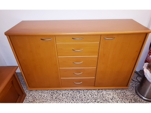 Sideboard 4-türig mit drei Schubkästen ahorn-weiß (gebraucht)