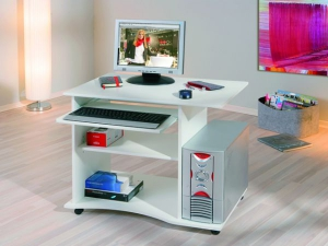 PC-Schreibtisch Pepe mit Tastaturauszug weiss (NEU)