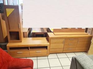Moderne Wohnwand sonoma-eiche/hochglanz-weiss mit integriertem TV-Teil (gebraucht)