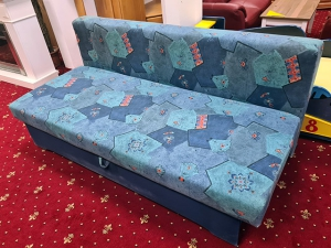 Big Sofa braun/orange-gemustert mit Kissen (gebraucht)
