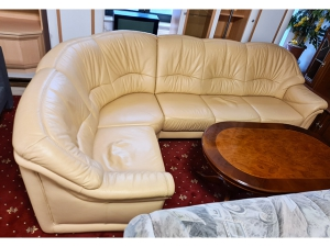 Ledercouch 2/1 mit Relaxfunktion cremeweiss (gebraucht)