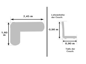 Moderne Eckcouch petrol mit Metallfüßen und Kissen (gebraucht)