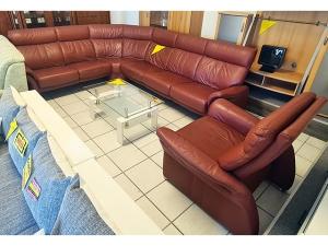 Lounge Ledercouch 3/2 dunkelbraun (gebraucht)