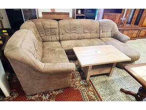 Couch 3/2/1 mit Schlaffunktion + Bettkasten grün/beige gemustert (gebraucht)