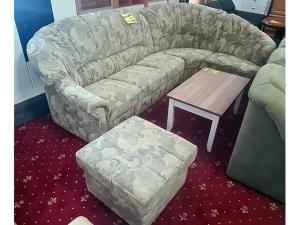 Stilmöbel Couch + Hocker grün-beige gestreift (gebraucht)
