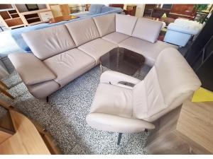 Couch 3/2/1/Hocker beige gemustert mit Holzabsetzungen (gebraucht)