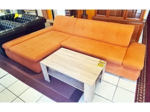 2-Sitzer Ledercouch mit Relaxsessel beige (gebraucht)