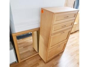 Hochwertige Garderobenmöbel mit Spiegel [7-teilig] weiss/orange-glas (gebraucht)