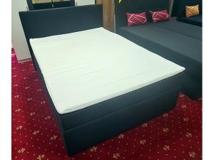 Doppelbett inkl. Bettkästen und Matratzen terracotta gemustert (gebraucht)