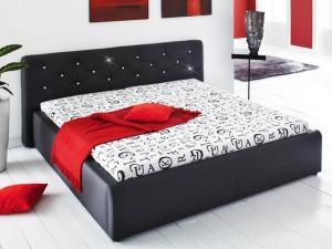 Doppelbett Verona schwarz mit Glitzersteinen 180 x 200 cm inkl. Matratzen und Rollroste