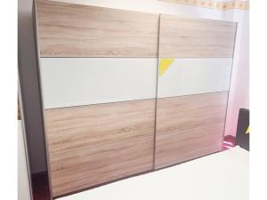 Kleiderschrank 6-türig mit Spiegeln erle-farben (gebraucht)