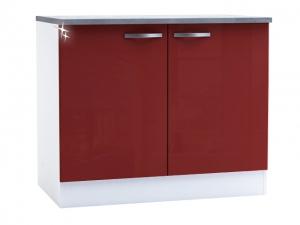 Küchenunterschrank Cherry 491502 100cm hochglanz-rot/weiss