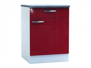 Küchenunterschrank Cherry 491503 60cm hochglanz-rot/weiss