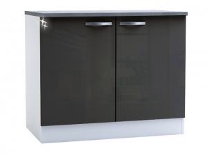 Küchenunterschrank Spicy 391802 100cm hochglanz-grau/weiss