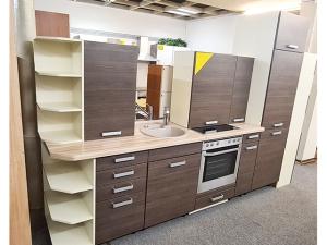 Eckküche mit Geräten buche/blau (gebraucht)