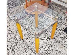 Beistelltisch mit Glasplatte buche/silber (gebraucht)