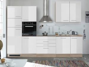 Küchenblock Laurel mit Geräten sonoma-eiche / hochglanz-weiss (NEU)