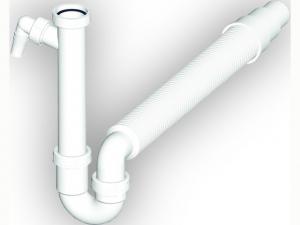 Spültisch-Siphon 1 1/2 x 40/50 mm mit Maschinenanschluss weiß