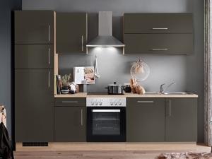 Küchenblock Jana mit Geräten sonoma-eiche / hochglanz-lava (NEU)