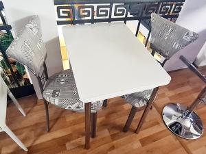Küchen-Bartisch + 2 Stühle gepolstert buche (gebraucht)