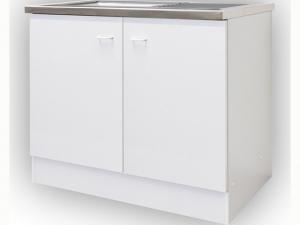 Komplettspüle mit Unterschrank 2-türig 100cm weiß