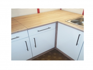 Kücheneckunterschrank Santorin 109-110 110cm sonoma-eiche / hochglanz-weiss