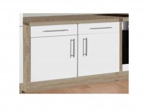 Küchenunterschrank Santorin 107-100 100cm sonoma-eiche / hochglanz-weiss
