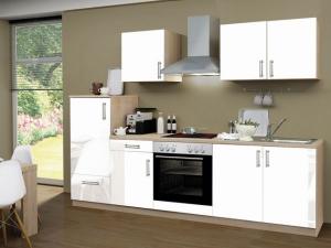 Küchenblock Santorin mit Geräten sonoma-eiche / hochglanz-weiss (NEU)