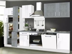Küchenblock Gina mit Geräten beton-optik / hochglanz-weiss (NEU)